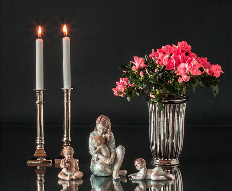 Candleholders, vase and Royal Copenhagen Children figurines