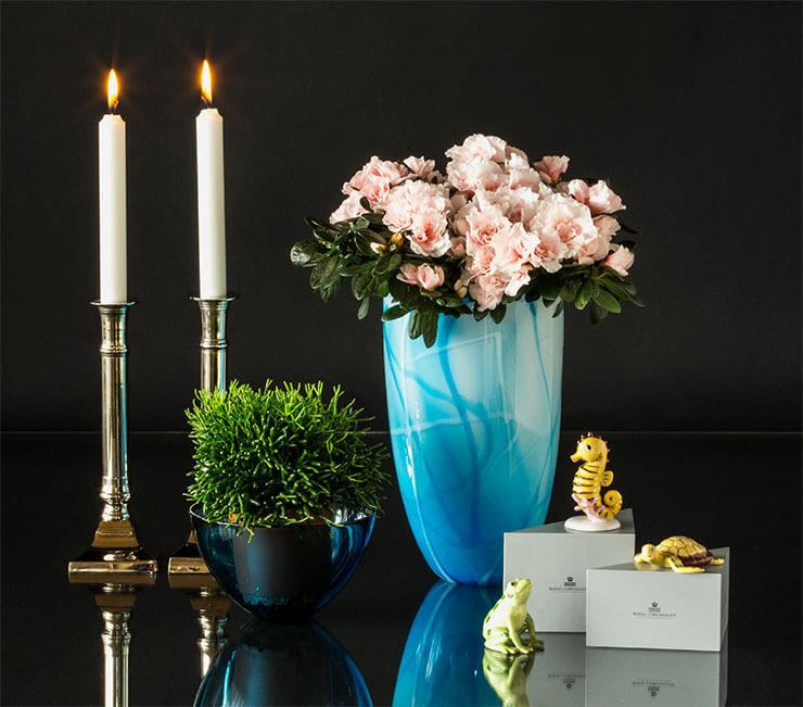 Royal Copenhagen Fortuna lykkefigurer med glaskunst vase og lysestager