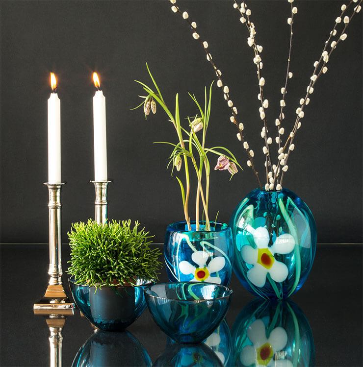 Glass art vases and Orrefors glass bowls