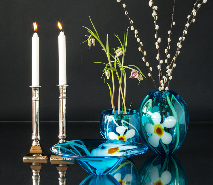 Glass art vases and bowls with metal Candleholders
