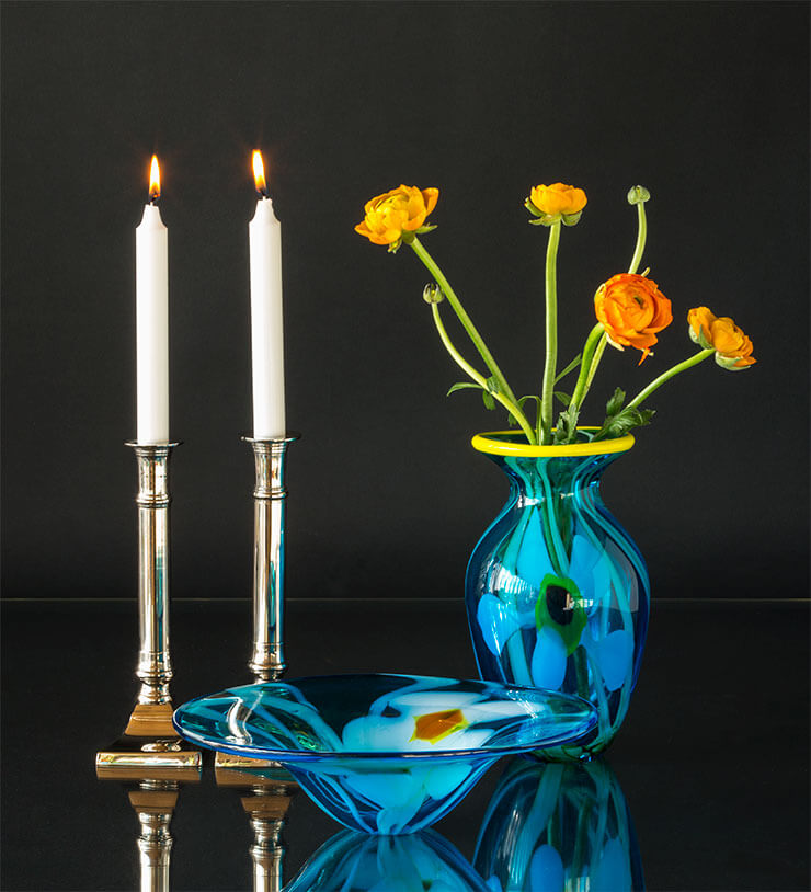 Glass art and candlesticks