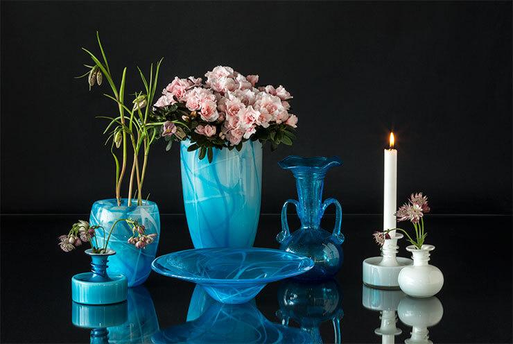 Glaskunst Vasen, Schalen und Kerzenhaltern Holmegaard