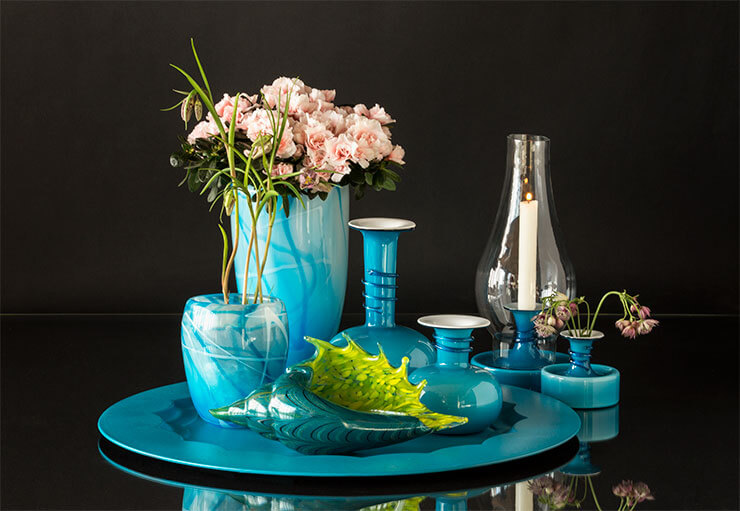 Glass art dishes, bowls and vases
