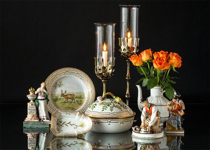 Royal Copenhagen Flora Danica and Hans Christian Andersen Figurines and Wiinblad candlesticks