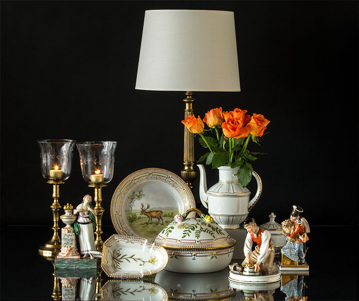 Royal Copenhagen Flora Danica and classic candlesticks and table lamp