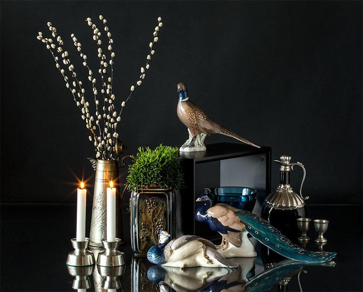 Royal Copenhagen B&G brid figurines and pewter tin candleholders
