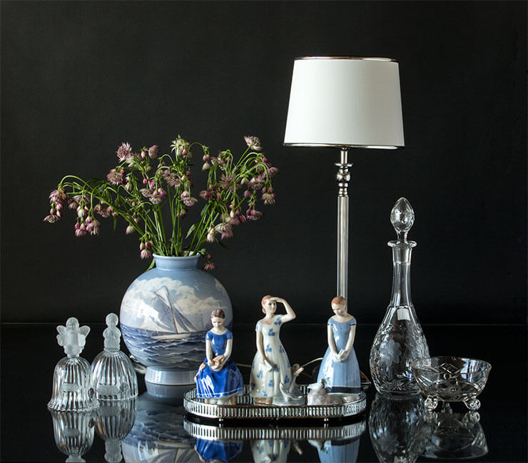 Royal Copenhagen Faith, Hope and Charity and vase with Goebel Annual bells