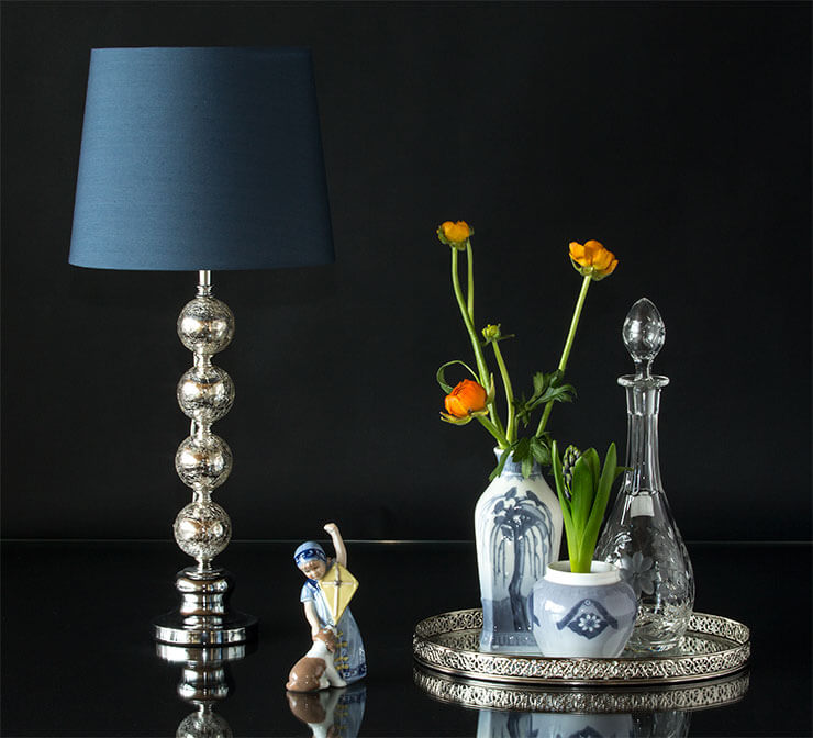 Royal Copenhagen B&G Christmas and Easter vase with Else figurine, table lamp and mirror tray