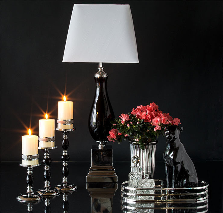 Classic candleholders, vases, mirror trays and lamps